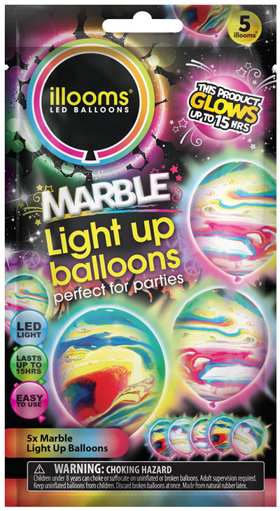 Ilooms Light Up Balloons Coloured Stars Marble