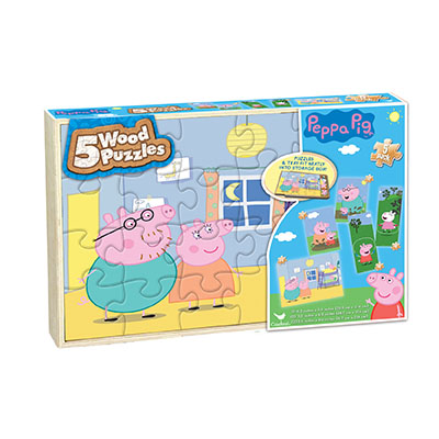 Peppa Pig 5 Pack Wood Puzzles in Wood Tray