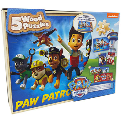 Paw Patrol 5 Pack Wood Puzzles in Wood Tray