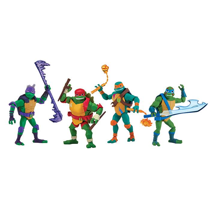 "Rise TMTN Ninja Turtles Set 4 Soft Plushies 10/"" Play by Play"