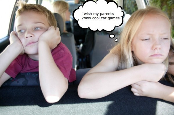 Two bored kids in a car